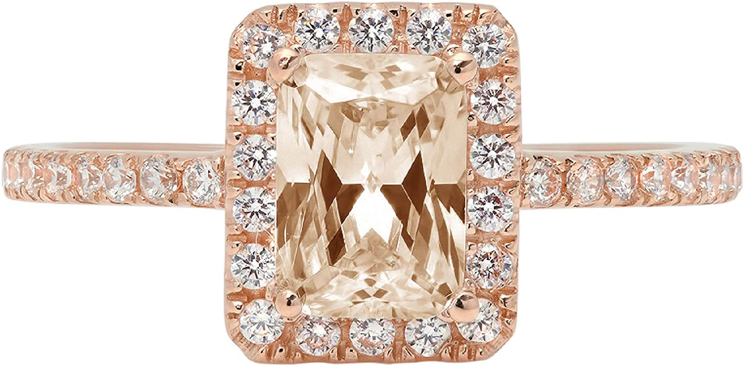 Clara Pucci 1.95 Brilliant Emerald Cut Solitaire Accent Stunning Genuine Flawless Champagne Simulated Diamond Gem Designer Modern Ring Solid 18K Rose Gold