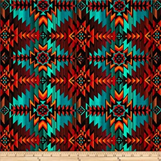 Timeless Treasures Southwest Blanket Turquoise Fabric by The Yard, Turq
