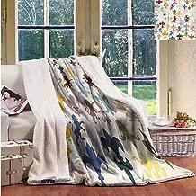 Sunnyhome Flannel Double Blanket Fleur De Lis Lions Horses Griffins Machine Washable and Drier Safe W59x47L