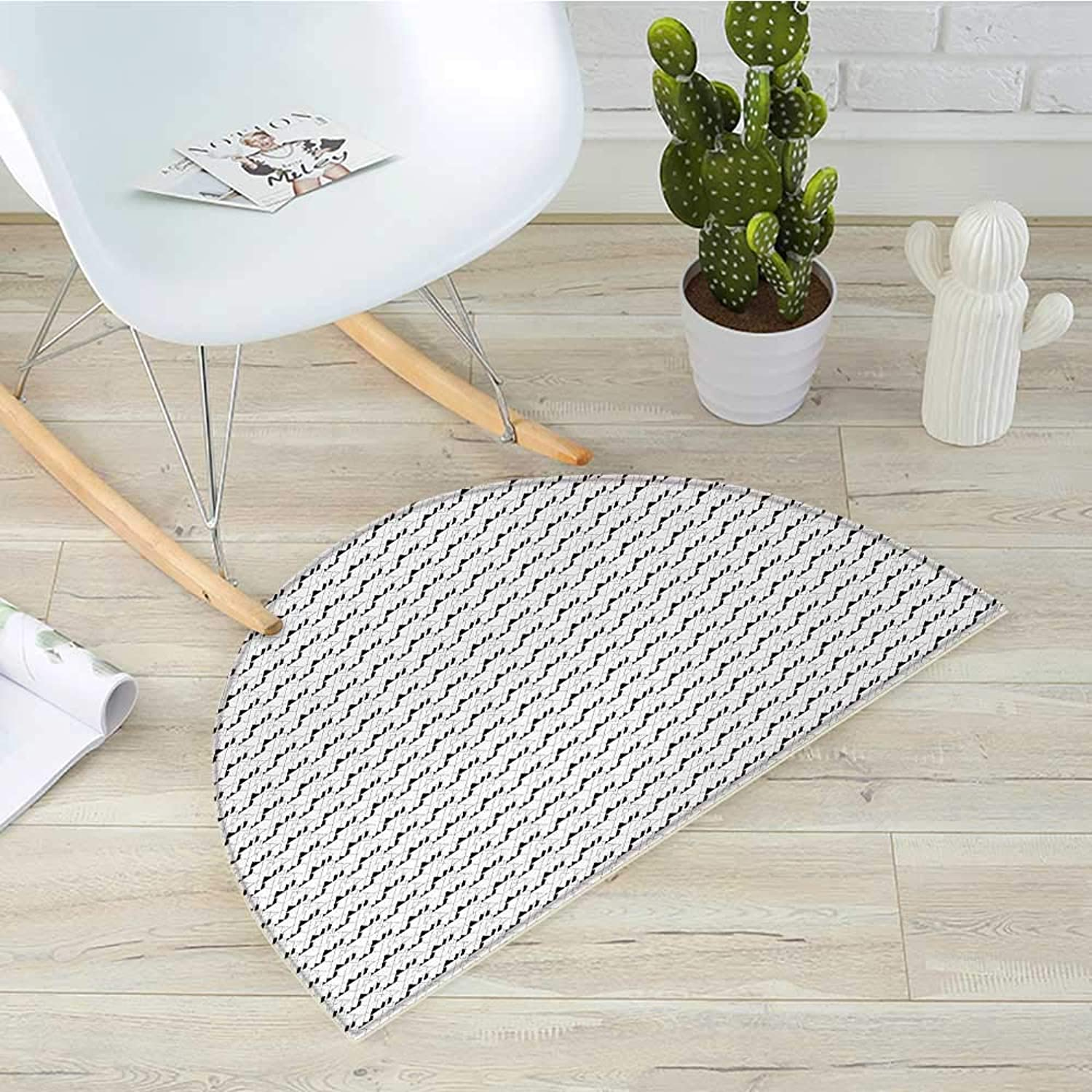 Black and White Half Round Door mats Abstract Triangles and Trapezoids Monochrome Geometric Lines Illustration Bathroom Mat H 39.3  xD 59  Black White