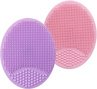 HieerBus Facial Cleansing Brush,Soft Food Grade Silicone Face Scrubber,Facial Scrub for Massage Pore Cleansing Blackhead Removing-Gentle Exfoliation and Deep Scrubbing (2ed-Pink+Purple)