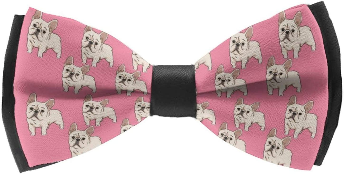 AMRANDOM Adults & Children Woven Self Tie Bowties Adjustable Length Large Pre-Tied Bow Ties Bow Ties for Wedding Party Christmas, Cute Funny French Bulldog Pink