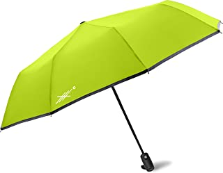 Extreme Degrees High Visibility Neon-Umbrella. Compact Lightweight Folding Umbrella with LED Flashlight. Protects from Rain or Sunlight- UV Protection. Men, Women & Kids.