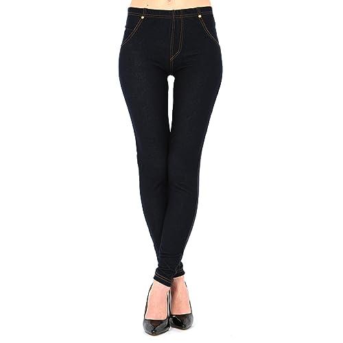 116589f551be Womens Plus Size High Waisted Denim Blue Black Jeggings Jean Leggings 6-32