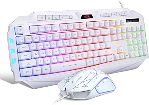 White Gaming Keyboard and Mouse Combo,MageGee GK710 Wired Backlit Keyboard and White Gaming Mouse Combo,PC Keyboard a...