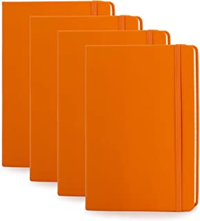 """Simply Genius Faux Leather A5 Hardcover to Write in for Women and Men (Pack of 4, 5.7"""" x 8.4"""", Orange)"""