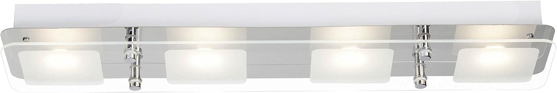 Brilliant Mountain LED Deckenleuchte Wandleuchte 4 flg lnglich chrom Glas 1600 Lumen, Samsung-LED integriert