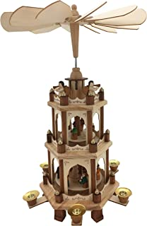 PIONEER-EFFORT 17 Inch Wooden Christmas Pyramid Candle Holders - 3 Tiers - Hand Painted Nativity Figurines - Turning Wings...