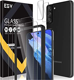 4 Pack EGV 2pcs Screen Protector + 2pcs Camera Lens Protector Compatible with Samsung Galaxy S21 Plus 6.7-inch, Tempered G...