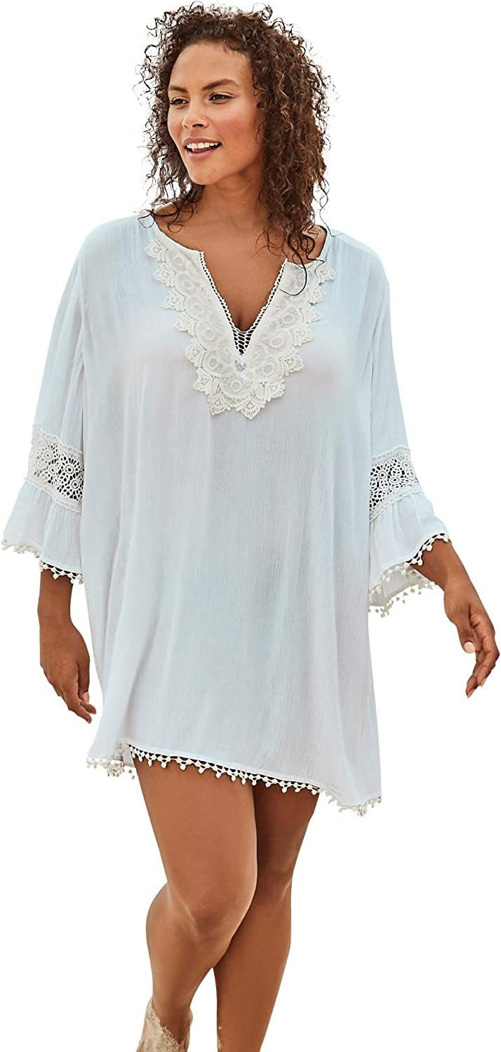Swimsuits For All Women's Plus Size Embroidered Crinkle Cover Up Swimsuit Cover Up