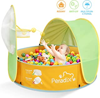 Peradix Kids Ball Pit Tent, 3 in 1 Pop Up Tent with UV Protection Sunshade Canopy and Basketball Hoop, Portable Kids Ball Pool Play Tent Indoor Outdoor Toys, Baby Paddling Pool for Birthday Christmas