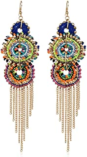 Lux Accessories Gold Tone Bright Colorful Woven Festival Fringe Chandelier Earrings