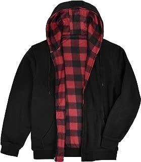 Men's Reversible Hooded Buffalo Plaid Fleece Jacket