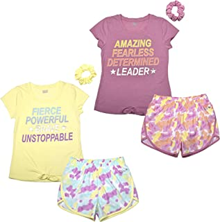 Hind 4PC Girls Athletic Shorts and Workout Tops, Workout Clothes for Girls