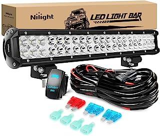 Nilight ZH082 20Inch 126W Spot Flood Combo Road 12V 5Pin Rocker Switch LED Light Bar Wiring Harness Kit, 2 Years Warranty