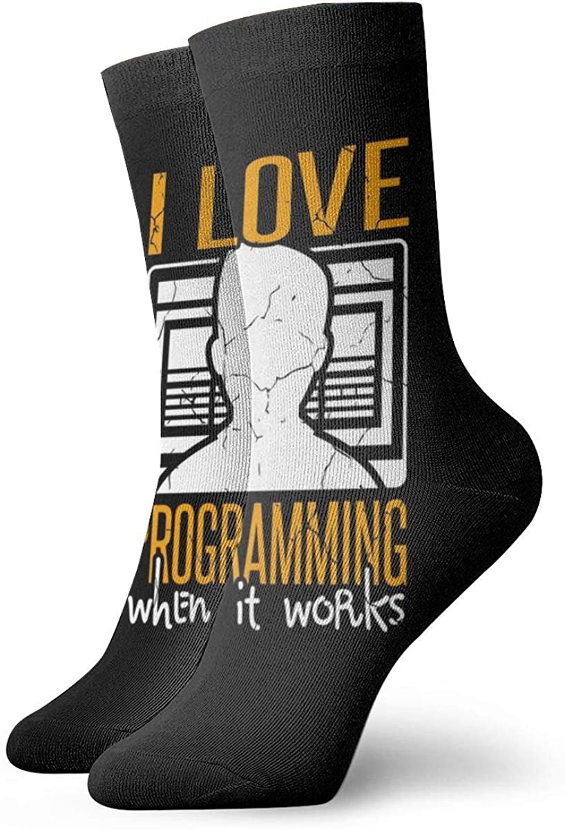 Casual Socks With Cool Computer Programmer Print, Cotton Crew Socks For Men Women
