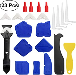 23 Pieces Caulking Tool Kit, 3 in 1 Caulking Tools Silicone Sealant Finishing Tool Grout Scraper Caulk Remover and Caulk Nozzle and Caulk Caps 3 Replaceable Pads Bathroom, Kitchen, Room Sealing.