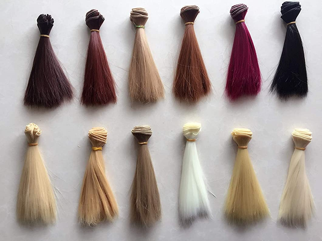 A Set Of 12 Color SD Doll DIY Straight Hair 15cm100cm BJD/- For Arts and Crafts, Doll Making, and More