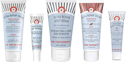 First Aid Beauty Discovery Kit: 5 Piece Limited Edition Set. Hydrating and Repairing Gift Set with Ultra Repair: Cream, Lip Therapy, Instant Oatmeal Mask, Body Scrub, Grapefruit Cream