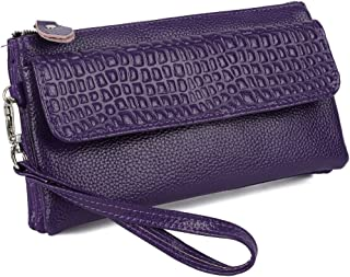 YALUXE Women's Large Capacity Leather Smartphone Wristlet Clutch with Shoulder Strap Purple