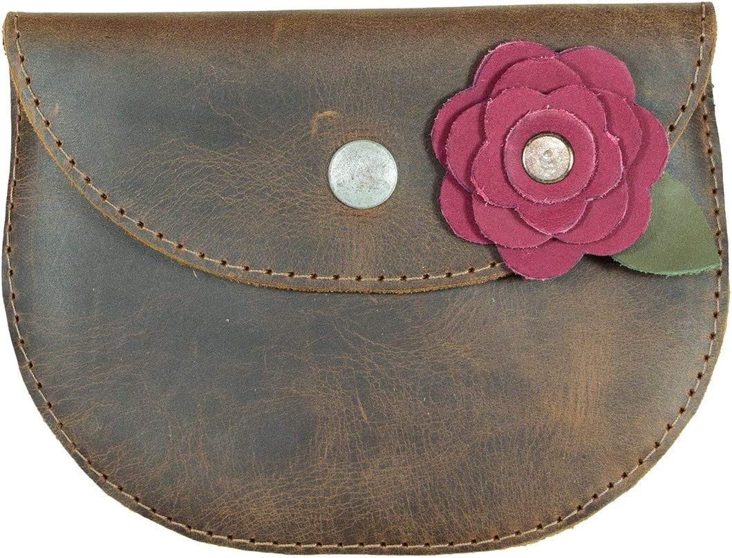 Hide & Drink, Leather Card Wallet W/Rose, Phone Holder, Cash Organizer, Cable Pouch, Wallet Case, Accessories, Handmade Includes 101 Year Warranty :: Bourbon Brown