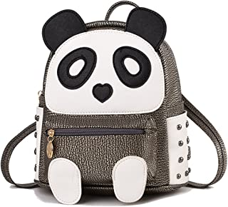 d5d1a67076 Cute Panda Backpack for Girls and Boys Waterproof Leather Small Travel Bag