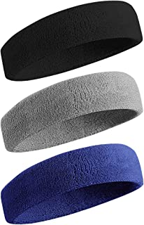 BEACE Sweatbands Sports Headband/Wristband for Men & Women - 3PCS / 6PCS Moisture Wicking Athletic Cotton Terry Cloth Sweatband for Tennis, Basketball, Running, Gym, Working Out