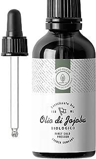 100ml Olio di Jojoba Bio, Spremuto a Freddo, Puro - 100% naturale per la cura di pelle, capelli, viso, barba - Flacone di ...