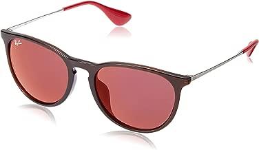 RAY-BAN RB4171F Erika Round Asian Fit Sunglasses, Brown/Dark Red Mirror, Dark Red Mirror