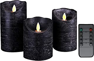 Kitch Aroma Marble Black flameless candles 3 x 4/5/6inch Battery Operated LED Pillar Candles with Moving Flame Wick,Wave Top,Pack of 3