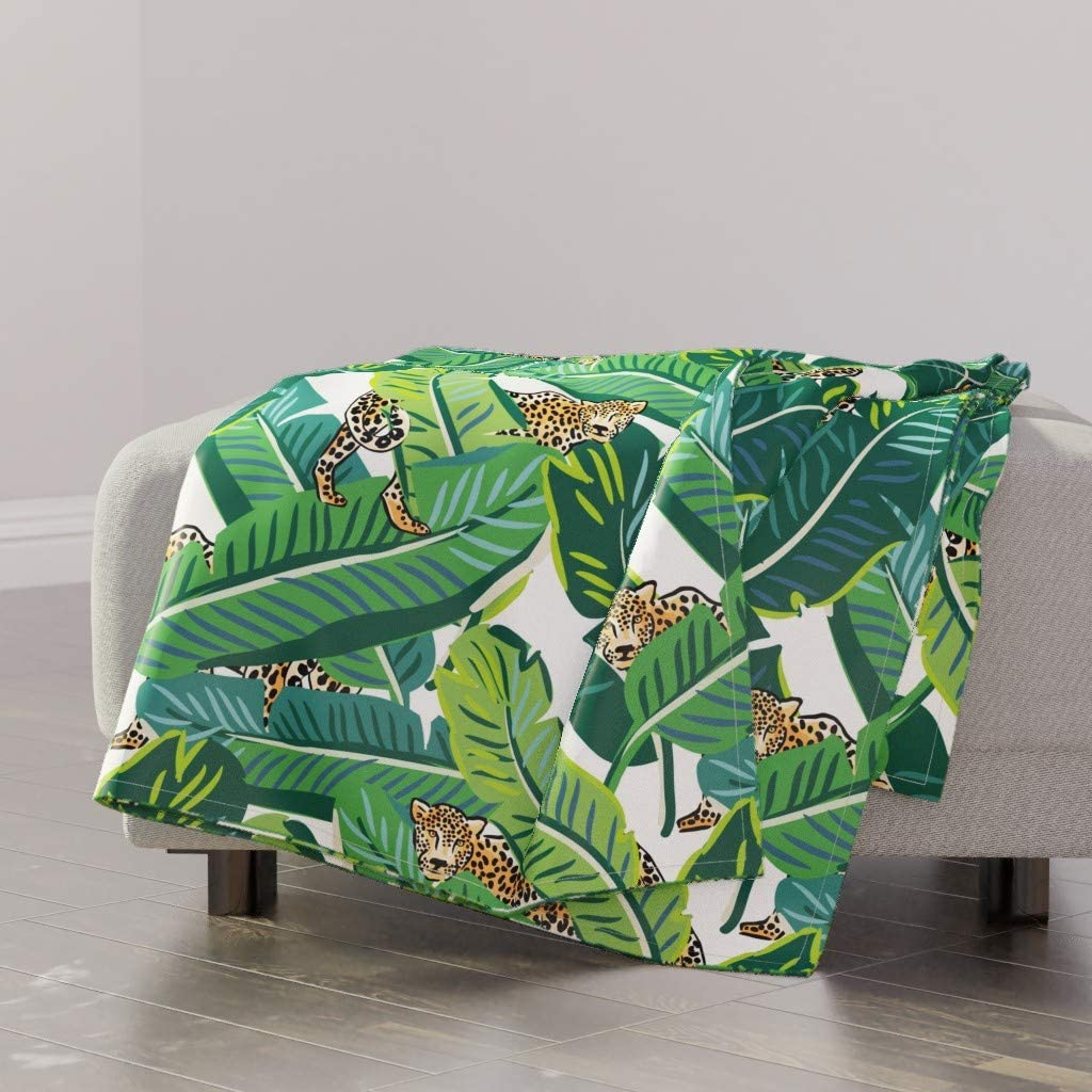 gift Roostery Spoonflower Throw Blanket Tropical specialty shop Floral Leaves Lion