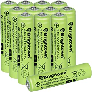 NiMH Rechargeable AAA Battery Pack of 12, 850mAh 1.2v Pre-Charged Triple A Solar Battery for Solar Lights, Remote Controll...