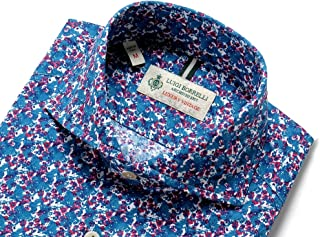 ルイジボレッリ ルイジボレリ LUIGI BORRELLI / 20SS!製品洗いコットンポプリン花柄プリントホリゾンタルカラーシャツ「NA35(9021)」 (ネイビー×レッド×ホワイト) メンズ