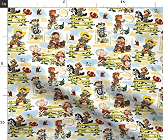 Spoonflower Fabric - White Cowboy Cowgirl Horse Paris Vintage Puppies Western Printed on Fleece Fabric by The Yard - Sewing Blankets Loungewear and No-Sew Projects