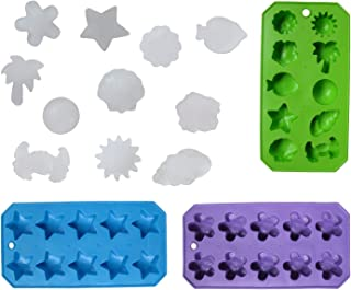 Chef Craft 21461-3PK Set of 3 Flexible Shaped Ice Cube Trays. Sun, Star, Flower, Tree and Sealife. Fun Party Combo, Silver