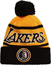 Mitchell & Ness Los Angeles Lakers NBA 2X Championship Patch Pom Knit Hat