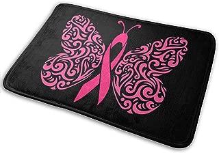 KLQ Breast Cancer Ribbon Butterfly Non-Slip Doormat Bath Rug Indoor Carpet Monogram Pad