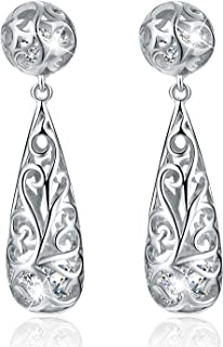 Esberry 18K Gold Plated 925 Sterling Silver Filigree Puffed Teardrop Earrings Hollow Dangle Earrings with Cubic Zirconia f...