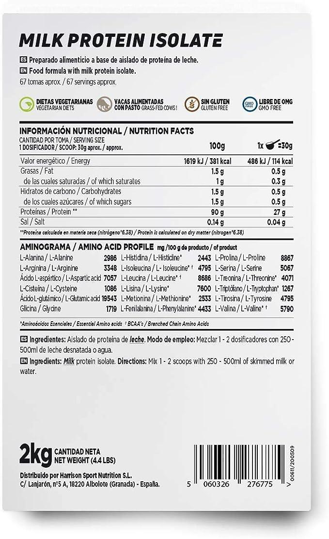 Aislado de Proteína de Leche de HSN | Milk Protein Isolate | Grass-Fed | 80% Caseína 20% Suero | Vegetariano, Sin Gluten, Sin Soja, Sin Sabor, 2 Kg