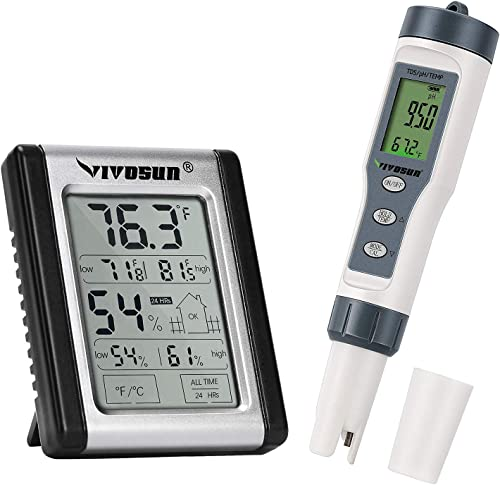 2021 VIVOSUN sale 3-in-1 Digital pH Meter with ATC and Digital Indoor Thermometer sale and Hygrometer online