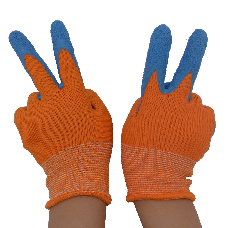 2 pares de guantes de jardín para niños de 2 a 3 años, de 4 a 5 años, de 6 a 13 años, con revestimiento de goma de espuma y guantes de