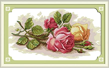 Anself Cross Stitch Set Rose Pattern DIY Embroidery Kit for Home Decor 45 X 29cm