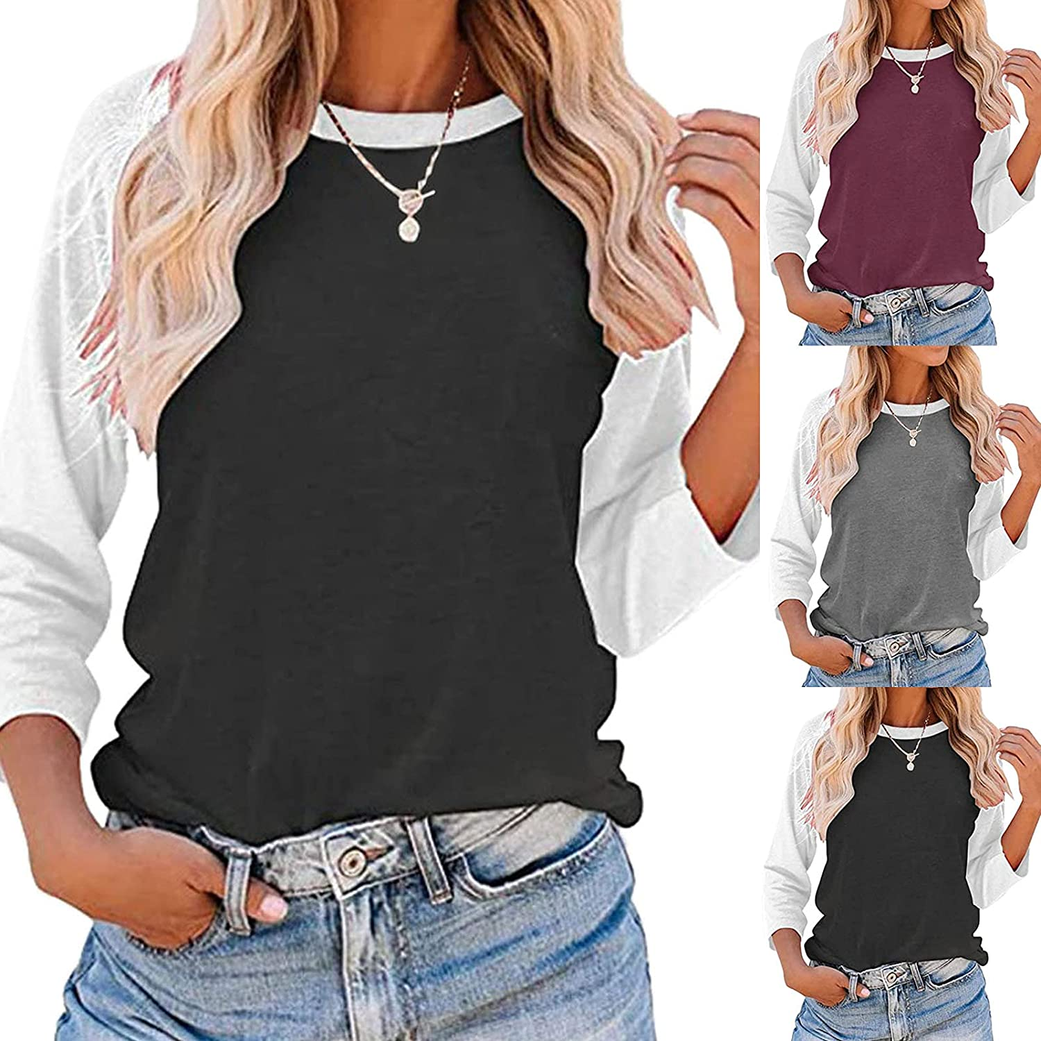 Women's T-Shirts 3 OFFicial Sales results No. 1 site 4 Sleeve Tee Color Stitching Pullo Tops Block