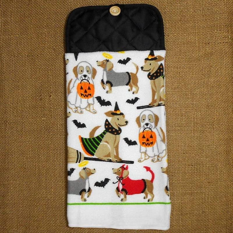 Halloween Dog Themed Microfiber Hanging Dish Towel Kitchen Decor