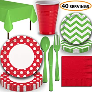 Disposable Tableware, 40 Sets - Ruby Red and Lime Green - Dotted Dinner Plates, Chevron Dessert Plates, Cups, Lunch Napkins, Cutlery, and Tablecloths: Premium Quality Party Supplies Set