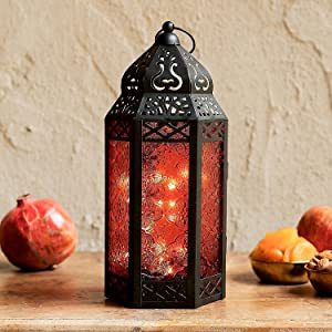 Moroccan Lantern with Fairy Lights - 11 Inch Tall, Red Colored Glass, Black Metal Frame, 20 LED Lights, Boho Home Decor or Fall Wedding Centerpiece - Timer and Batteries Included