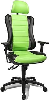 Topstar HE30PS105X Silla de Escritorio de Oficina, Head Point RS con reposabrazos y Cabezal, Dos Colores Acolchado Verde/Negro