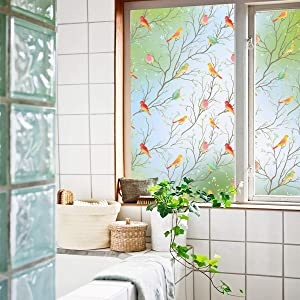 Coavas Privacy Window Film Opaque Non-Adhesive Frosted Bird Window Film Decorative Glass Film Static Cling Film Bird Window Stickers for Home Office 17.7In. by 78.7 in