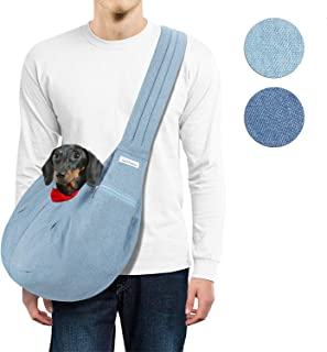 LincaPenneton Stylish Denim Pet Sling Dog Carrier Shoulder Bag Breathable Fabric Adjustable Padded Strap Small Cat Dog Pup...
