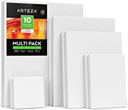 Arteza Stretched White Blank Canvas Multi Pack, 4x4, 5x7, 8x10, 9x12, 11x14 (2 of Each) Set of 10, Primed, 100% Cotton, fo...